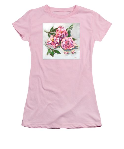 Women's T-Shirt (Junior Cut) featuring the painting June Peonies by Susan Thomas