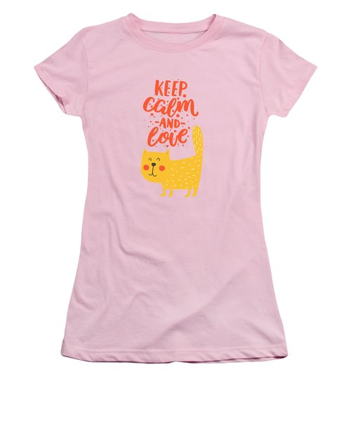 Women's T-Shirt (Junior Cut) featuring the photograph Keep Calm And Love Cute Animals by Edward Fielding