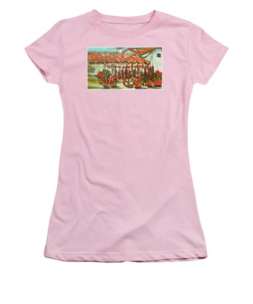 Women's T-Shirt (Junior Cut) featuring the painting La Mancha by Mindy Newman