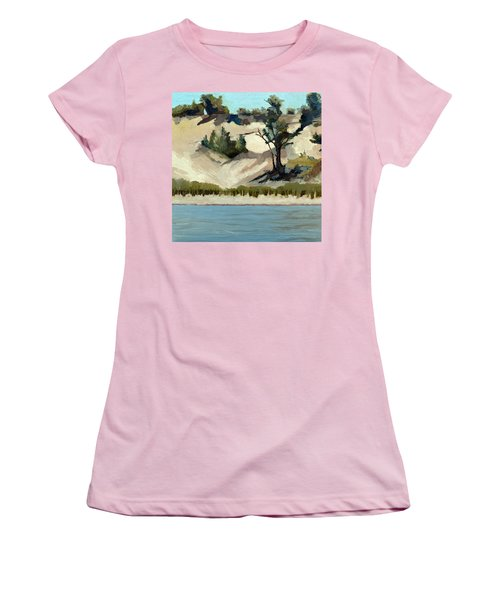 Women's T-Shirt (Athletic Fit) featuring the painting Lake Michigan Dune With Trees And Beach Grass by Michelle Calkins