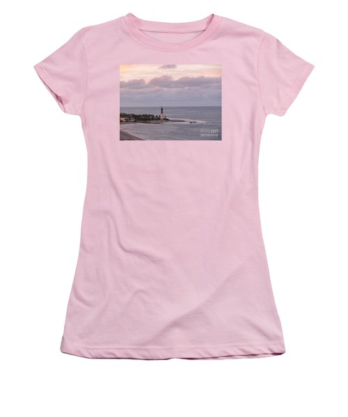 Lighthouse Sunset Peach And Lavender Women's T-Shirt (Athletic Fit)