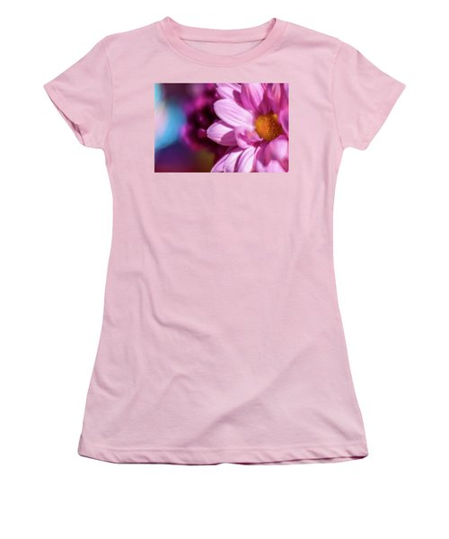 Magenta Floral On Blue Women's T-Shirt (Athletic Fit)