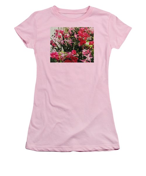 Magenta Orchid Garden Women's T-Shirt (Athletic Fit)