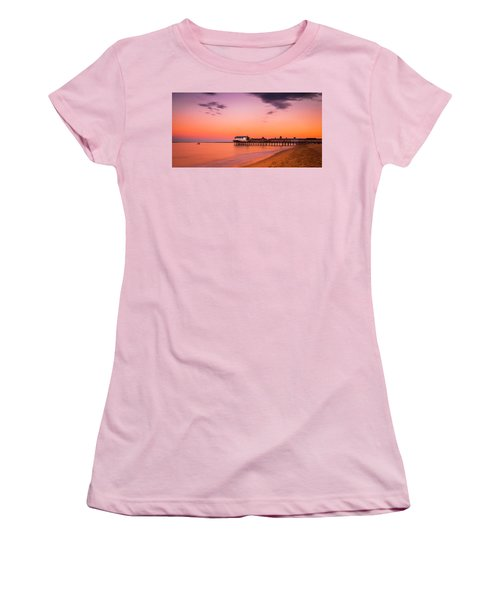 Maine Old Orchard Beach Pier At Sunset Women's T-Shirt (Athletic Fit)