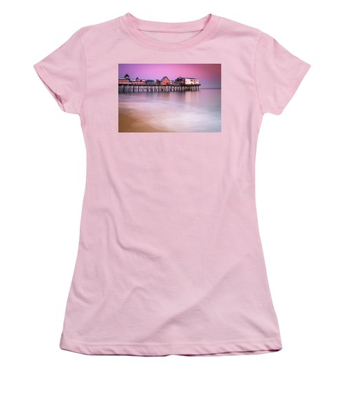 Women's T-Shirt (Junior Cut) featuring the photograph Maine Old Orchard Beach Pier Sunset  by Ranjay Mitra
