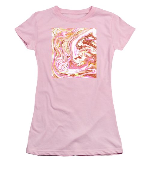 Marble And Rose Gold Dust Women's T-Shirt (Athletic Fit)