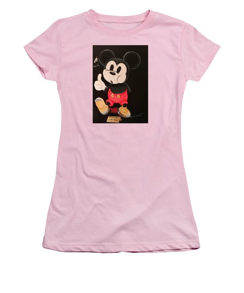 Women's T-Shirt (Junior Cut) featuring the painting Mickey On Tap by Susan Roberts