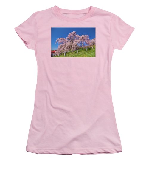 Women's T-Shirt (Athletic Fit) featuring the photograph Miharu Takizakura Weeping Cherry0565 by Tatsuya Atarashi