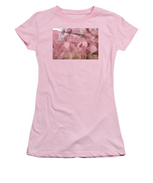 Misty Autumn Leaves Women's T-Shirt (Junior Cut) by Judy Palkimas
