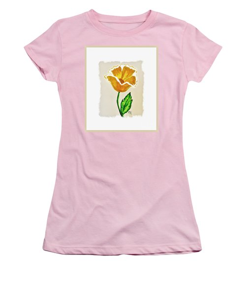 Modern Gold Flower Women's T-Shirt (Junior Cut) by Marsha Heiken