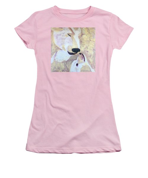 Women's T-Shirt (Junior Cut) featuring the painting Momma Bear Checking On Her Cub by Donald J Ryker III