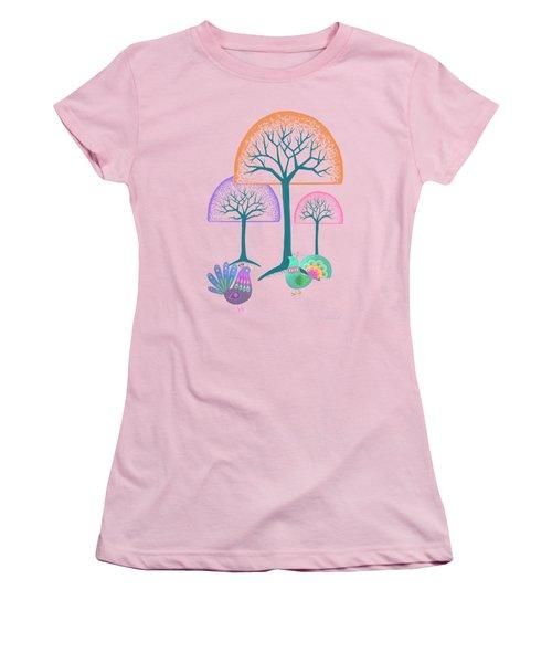 Moon Bird Forest Women's T-Shirt (Junior Cut) by Little Bunny Sunshine