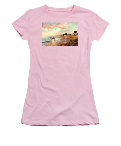 Women's T-Shirt (Junior Cut) featuring the painting Moonstone Beach California by Michael Rock