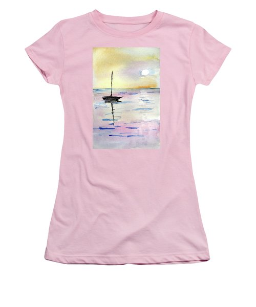 Moored Sailboat Women's T-Shirt (Athletic Fit)