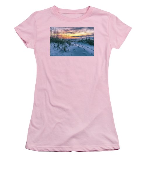 Women's T-Shirt (Junior Cut) featuring the photograph Morning Sunrise At The Beach by John McGraw