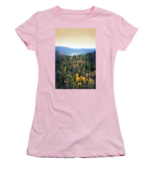 Women's T-Shirt (Junior Cut) featuring the photograph Mountains And Valley by Jill Battaglia
