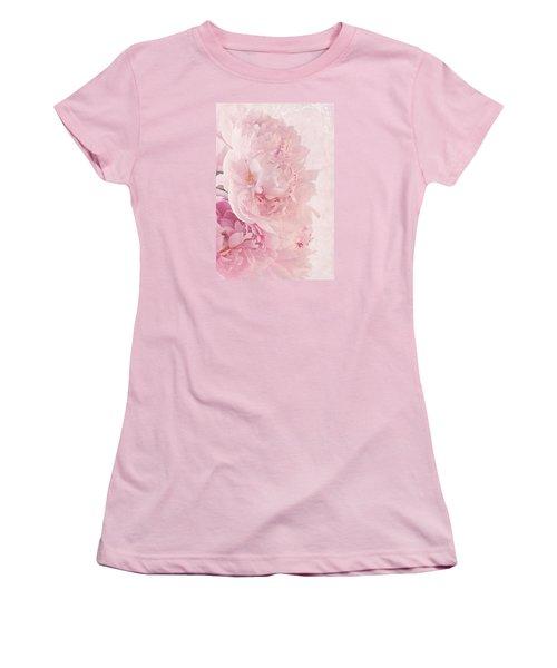 Artsy Pink Peonies Women's T-Shirt (Junior Cut) by Sandra Foster