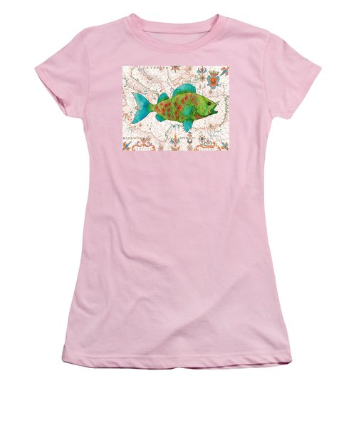 Women's T-Shirt (Junior Cut) featuring the painting Nautical Treasures-a by Jean Plout