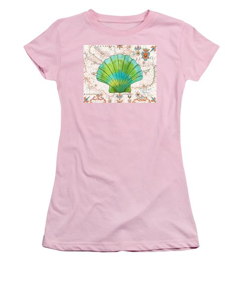 Women's T-Shirt (Junior Cut) featuring the painting Nautical Treasures-b by Jean Plout