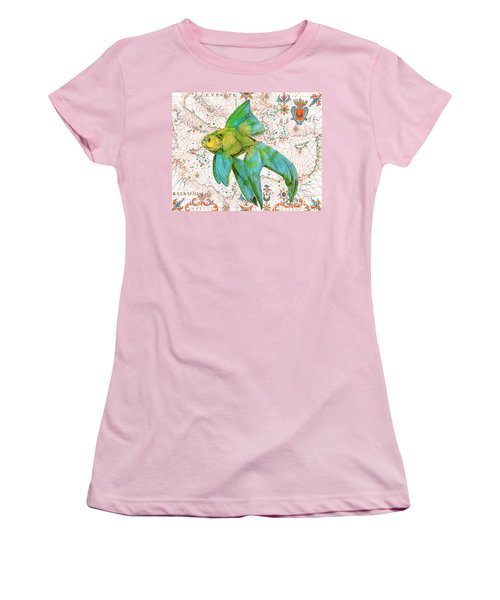 Women's T-Shirt (Junior Cut) featuring the painting Nautical Treasures-e by Jean Plout