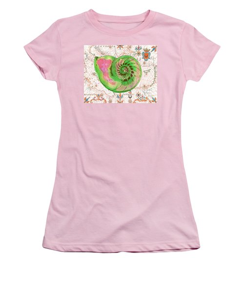 Women's T-Shirt (Junior Cut) featuring the painting Nautical Treasures-o by Jean Plout