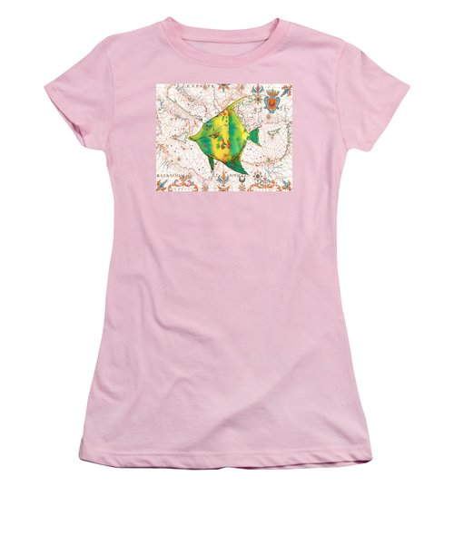 Women's T-Shirt (Junior Cut) featuring the painting Nautical Treasures-p by Jean Plout
