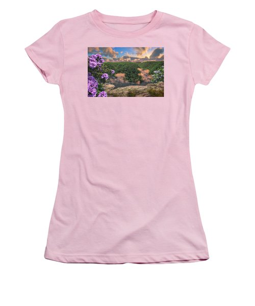 Women's T-Shirt (Athletic Fit) featuring the digital art New River Gorge Grandview by Mary Almond