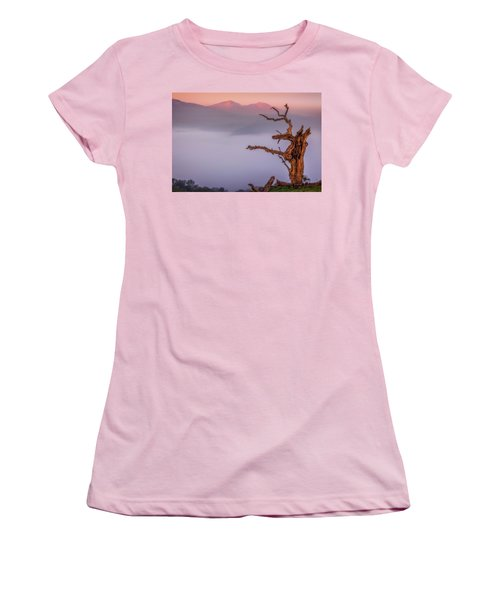 Old Oak And Mt. Diablo On A Foggy Morning Women's T-Shirt (Athletic Fit)