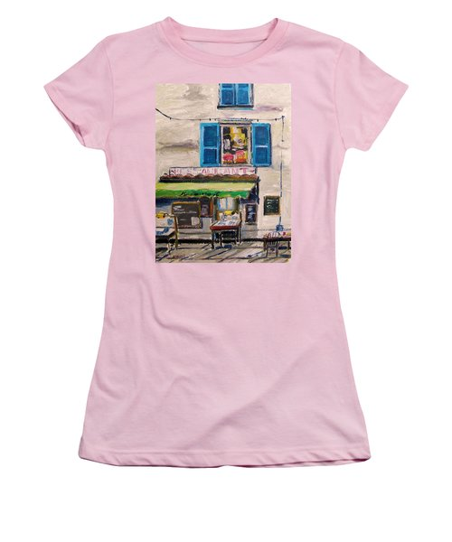 Women's T-Shirt (Junior Cut) featuring the painting Old Town Cafe by John Williams