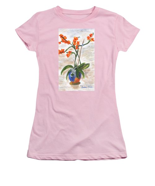 Women's T-Shirt (Athletic Fit) featuring the painting Orchid by Jamie Frier