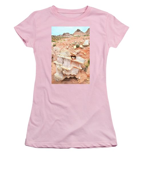 Women's T-Shirt (Junior Cut) featuring the photograph Ornate Rock In Wash 4 Of Valley Of Fire by Ray Mathis