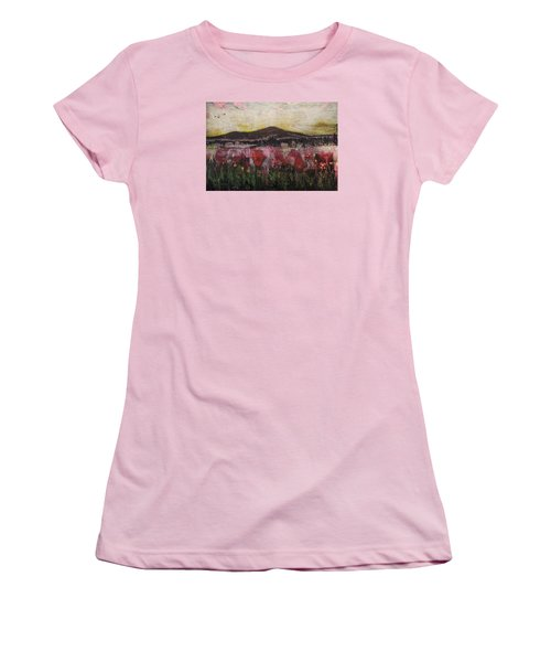 Women's T-Shirt (Junior Cut) featuring the painting Other World 3 by Ron Richard Baviello