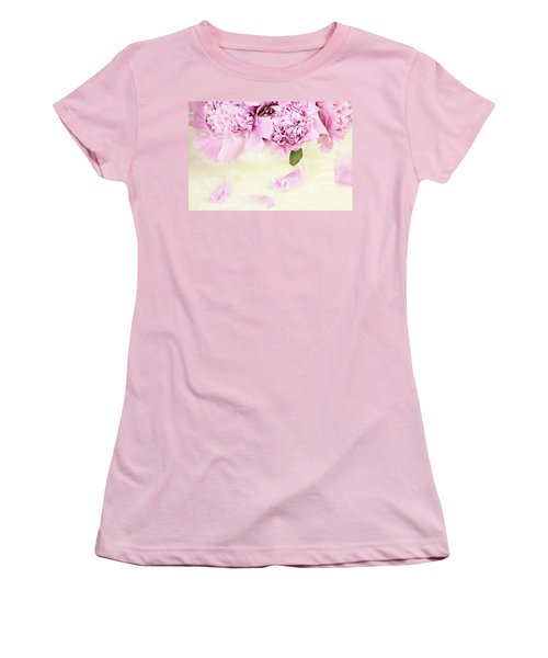 Pastel Pink Peonies  Women's T-Shirt (Athletic Fit)