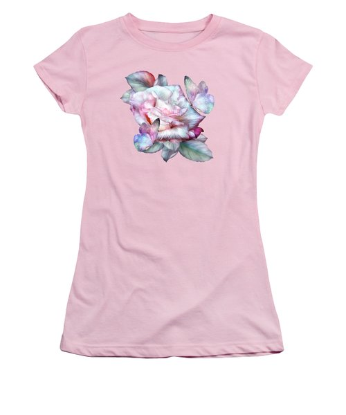 Women's T-Shirt (Junior Cut) featuring the mixed media Pastel Rose And Butterflies by Carol Cavalaris