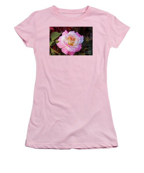 Peach And White Rose Women's T-Shirt (Athletic Fit)
