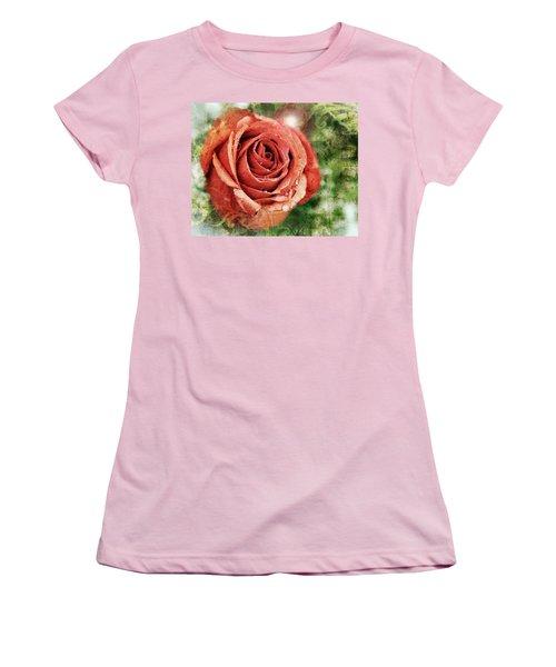 Peach Rose Women's T-Shirt (Junior Cut) by Sennie Pierson