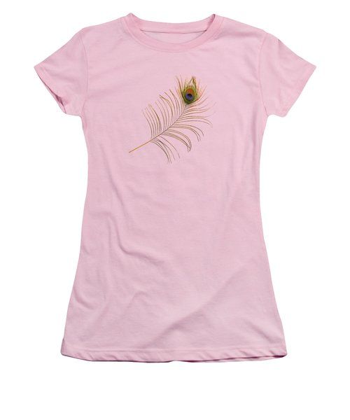 Peacock Feather Women's T-Shirt (Junior Cut) by Bradford Martin