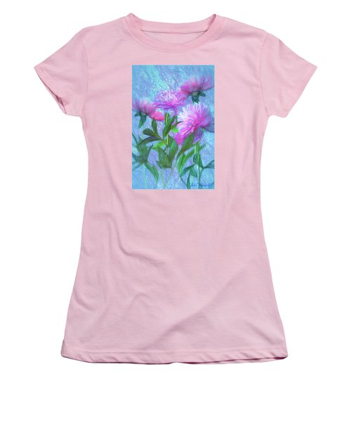 Peonies #3 Women's T-Shirt (Junior Cut) by John Selmer Sr
