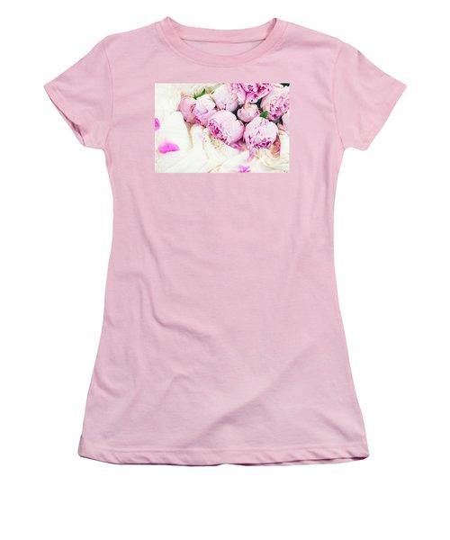 Peonies And Wedding Dress Women's T-Shirt (Junior Cut) by Anastasy Yarmolovich