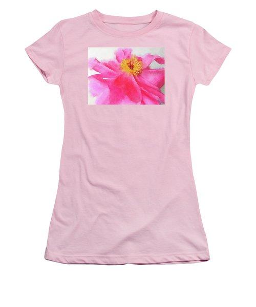 Women's T-Shirt (Junior Cut) featuring the digital art Peony by Mark Greenberg