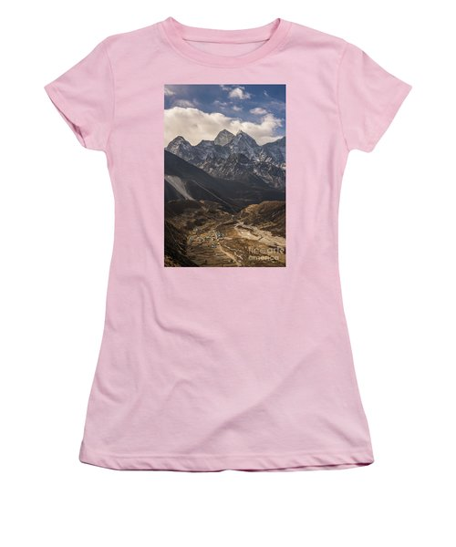 Women's T-Shirt (Junior Cut) featuring the photograph Pheriche In The Valley by Mike Reid