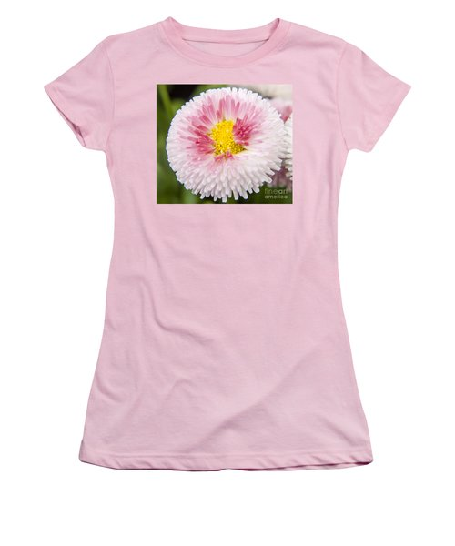 Pink Button Flower Women's T-Shirt (Athletic Fit)