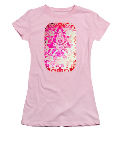 Pink Damask Pattern Women's T-Shirt (Athletic Fit)