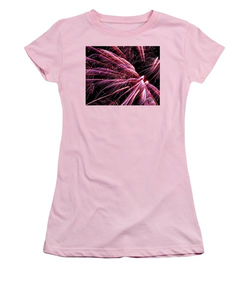 Women's T-Shirt (Athletic Fit) featuring the photograph Pink Flamingo Fireworks #0710 by Barbara Tristan