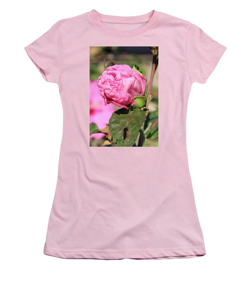 Pink Hibiscus Bud Women's T-Shirt (Junior Cut) by Inspirational Photo Creations Audrey Woods