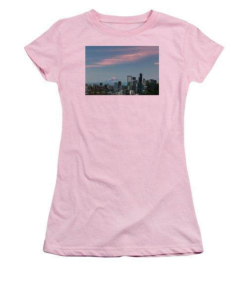 Pink Highlights Over Seattle-mt. Rainier Women's T-Shirt (Junior Cut) by E Faithe Lester