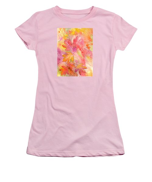 Pink Leaves Women's T-Shirt (Junior Cut) by Nancy Cupp