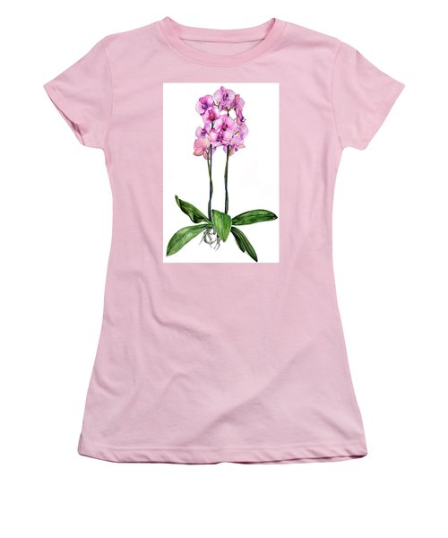 Pink Orchids Women's T-Shirt (Junior Cut) by Heidi Kriel