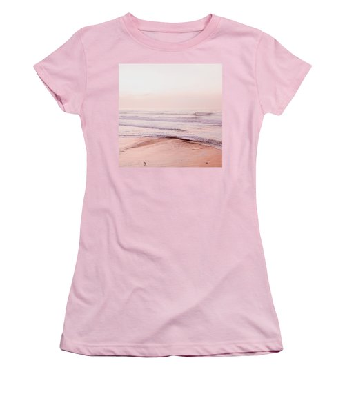 Women's T-Shirt (Junior Cut) featuring the photograph Pink Pacific Beach by Bonnie Bruno