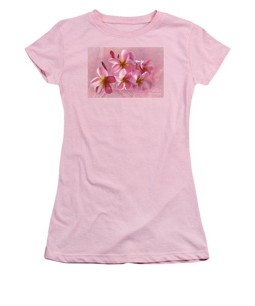 Women's T-Shirt (Athletic Fit) featuring the photograph Pink Plumeria Pastel By Kaye Menner by Kaye Menner